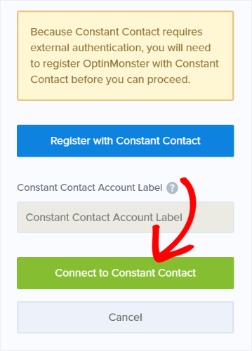 click connect to constant contact