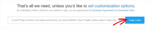 copy twitter code