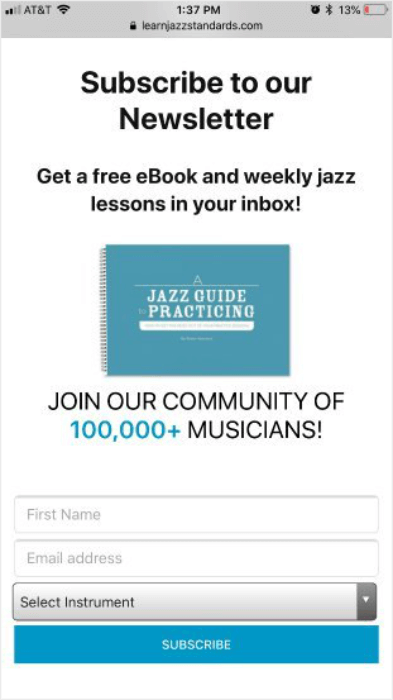 learn jazz standards mobile form