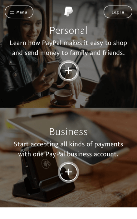 paypal mobile landing page