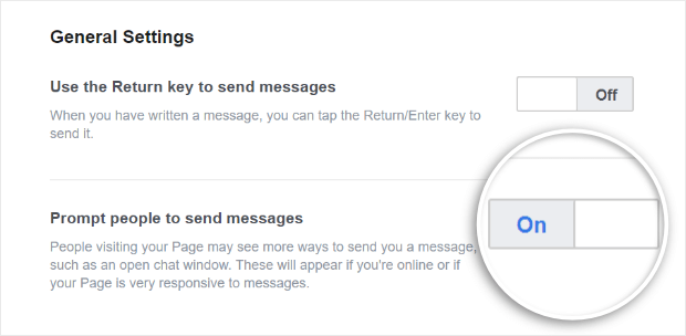 prompt users to message