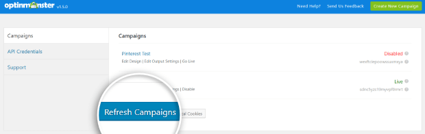 refresh campaigns on wordpress