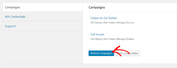 refresh optinmonster campaigns on wordpress