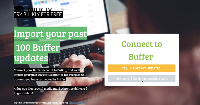 Bulkly figured out how to show visitors what their software does with a free trial using an exit-intent campaign.