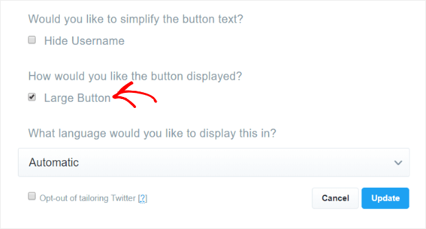 select large button option and update
