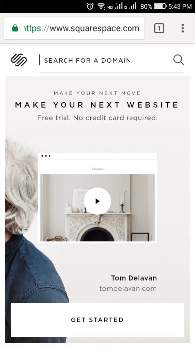 squarespace mobile landing page white space