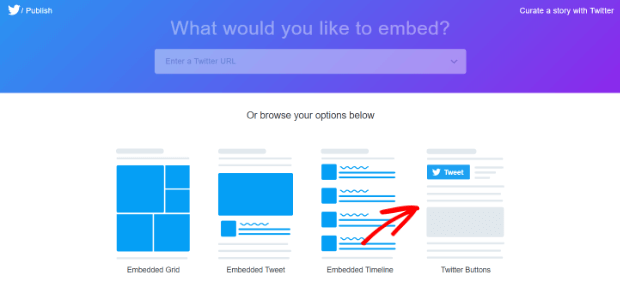 select Twitter Buttons option