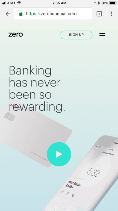 zero financial mobile landing page
