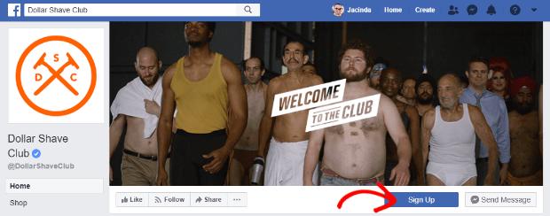 dollar shave club facebook page cta