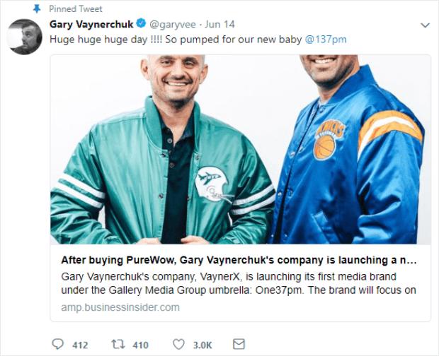 gary vee pinned tweet cta