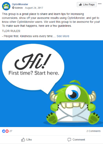 optinmonster facebook group