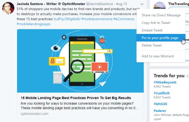 pin tweet to profile