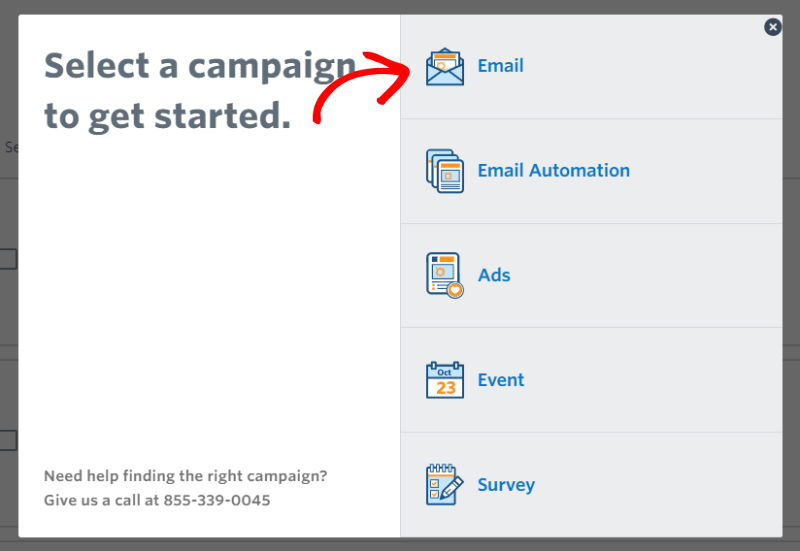 create new email in constant contact