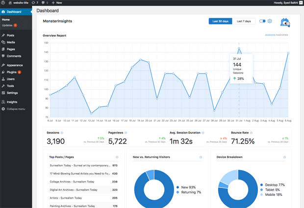 MonsterInsights dashboard widget full width
