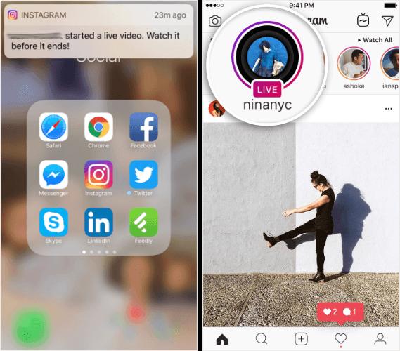 instagram live notifications