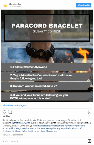 host an instagram contest
