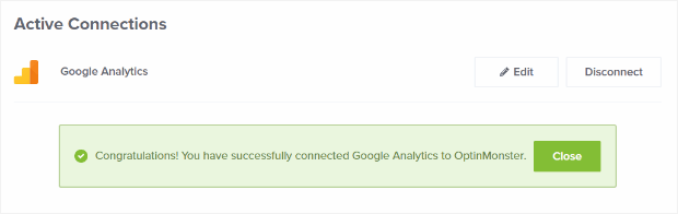 Successfully connected to Google Analytics
