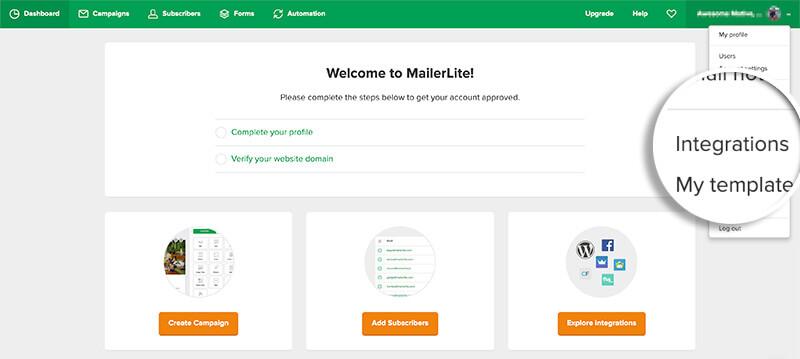 MailerLite Integrations Settings