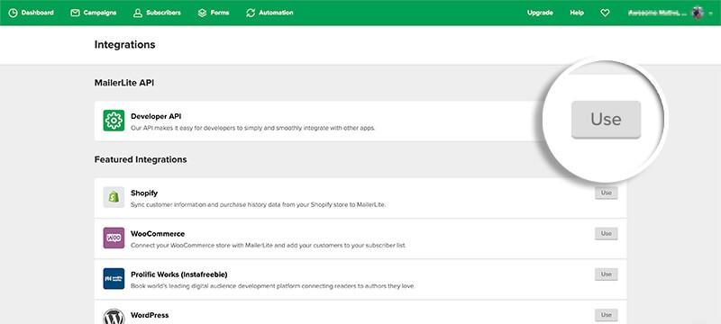 MailerLite Use API