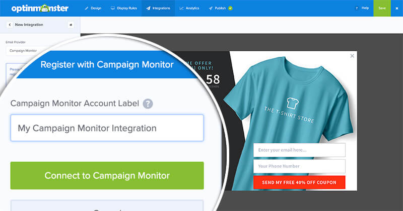 Click Connect with Campaign Monitor