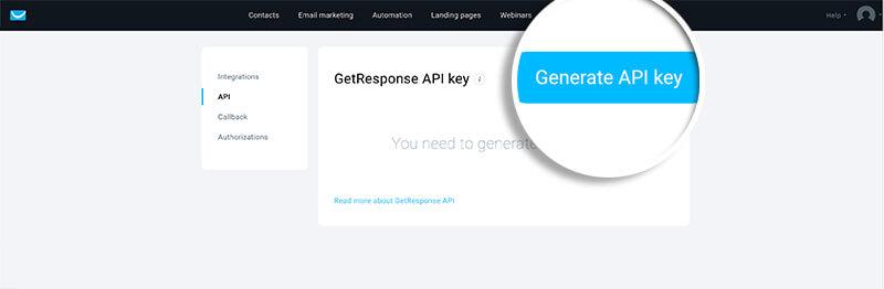 GetResponse Generate API Key