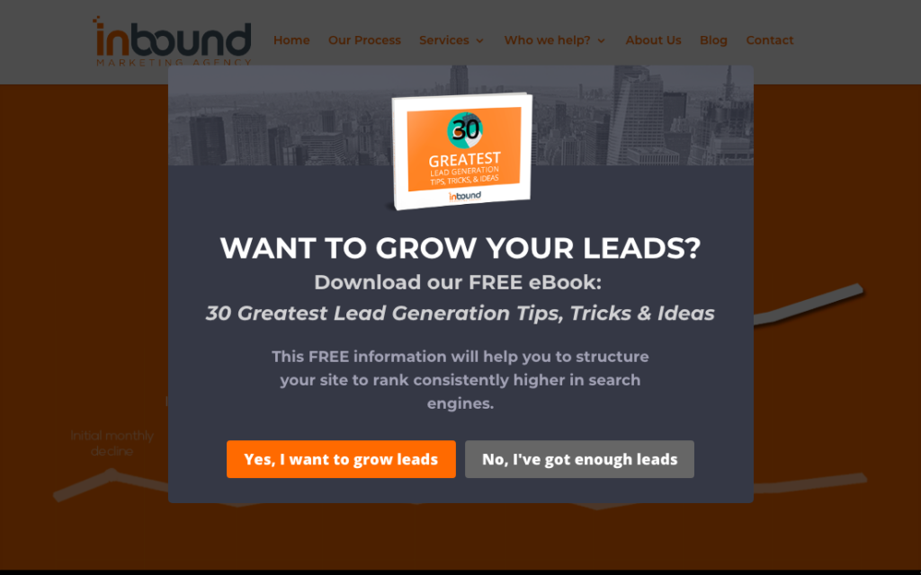 Inbound Marketing offered lead magnets using OptinMonster exit-intent to increase conversions.