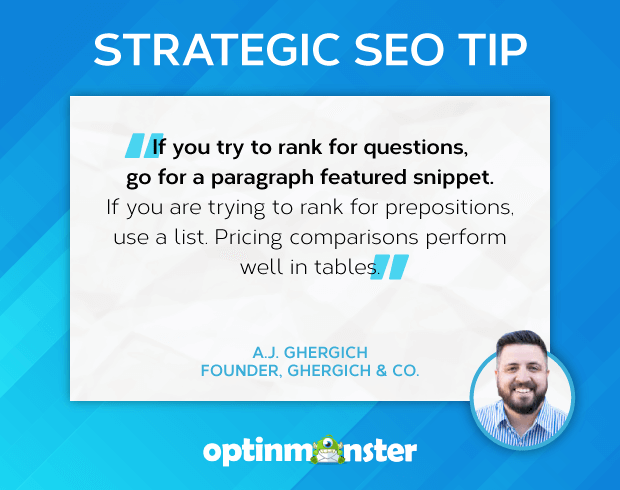 a.j. gherich featured snippet seo tip