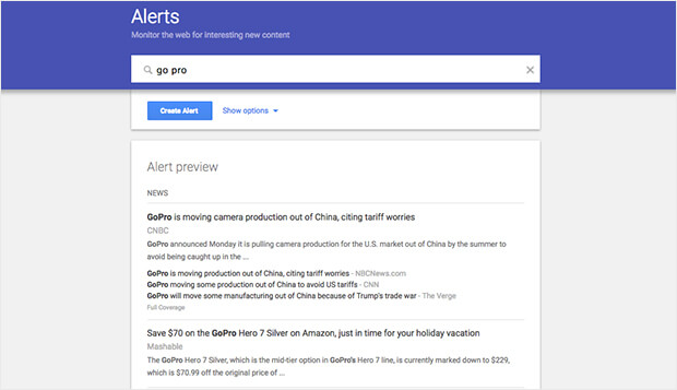 google alerts is a simple way to track earned media