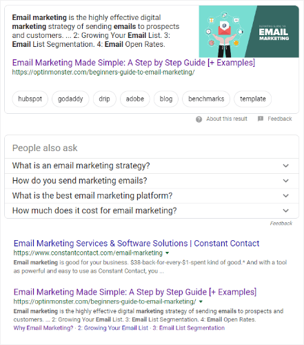 search results for desired keyword