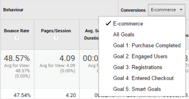 select goal from dropdown menu in conversions column