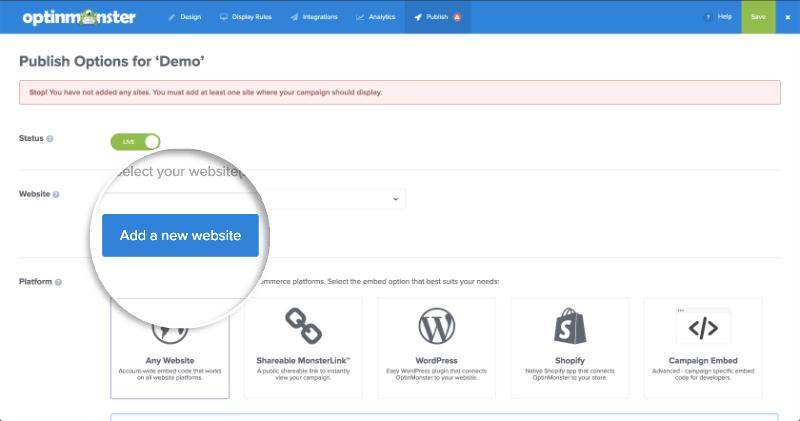 Add a New Website Button