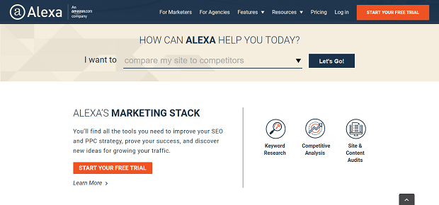 Alexa is a partly free online competitor analysis tool
