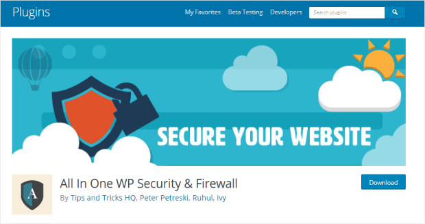 all-in-one wordpress security plugin
