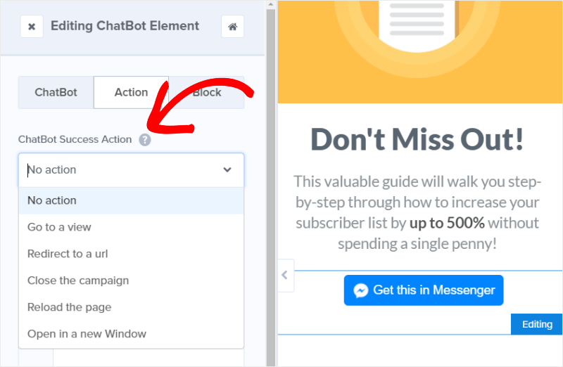 chatbot success actions