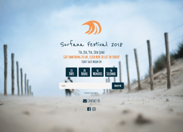surfana festival coming soon page