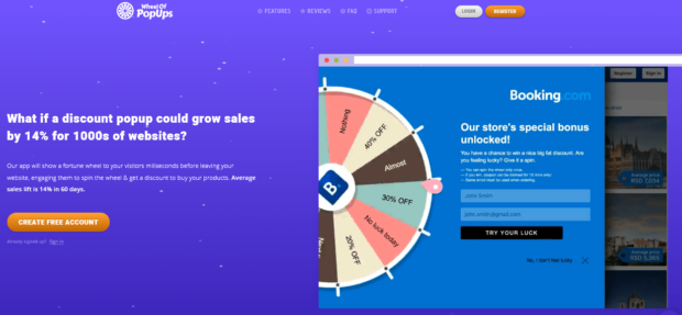 wheel of popups online spinner creator