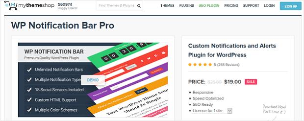 wordpress plugin capture leads - WP Notification Bar Pro