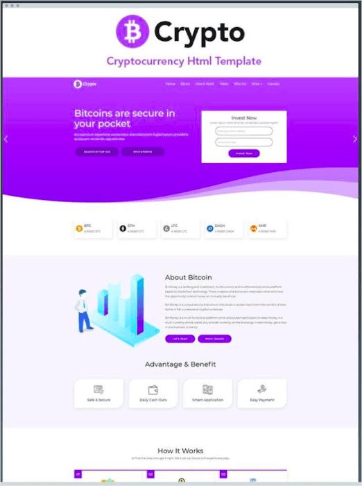 b crypto landing page