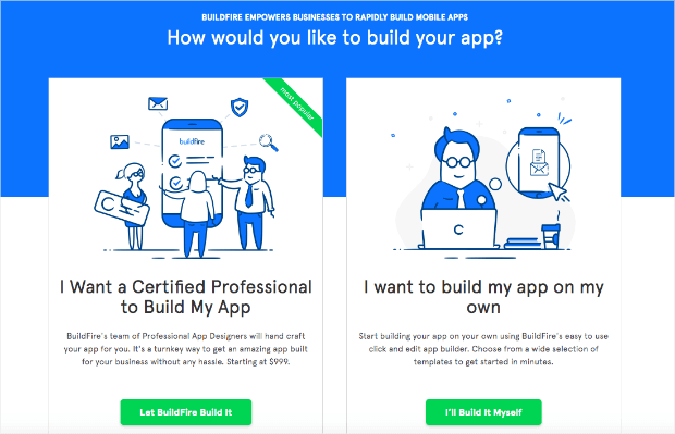 buildfire landing page