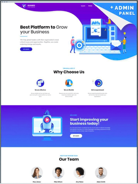business wordpress landing page