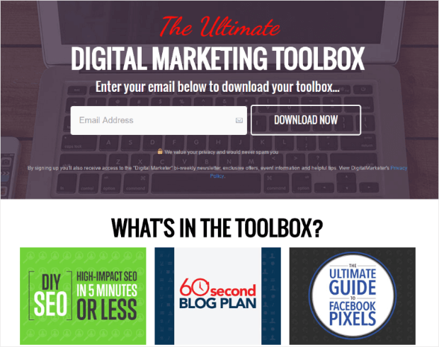 digital marketer landing page
