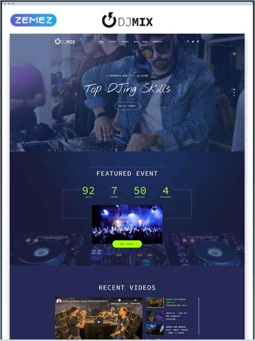 dj mix landing page