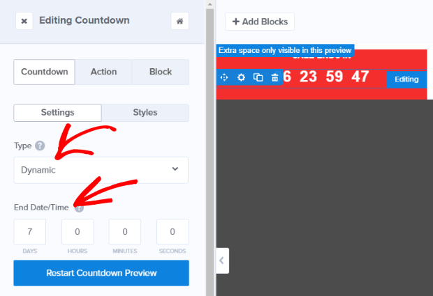 editing your countdown timer