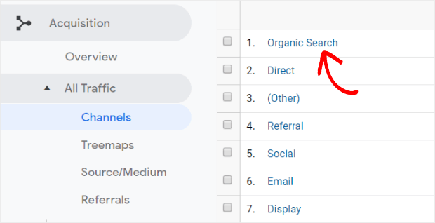 google analytics organic search