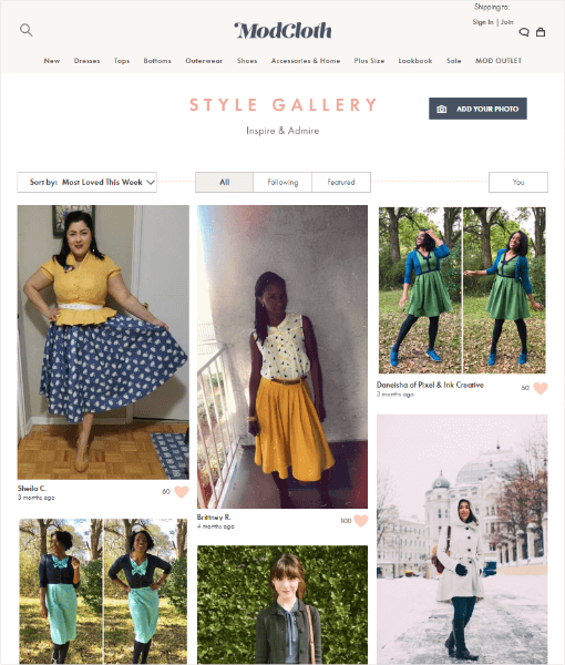modcloth style gallery - Social Proof