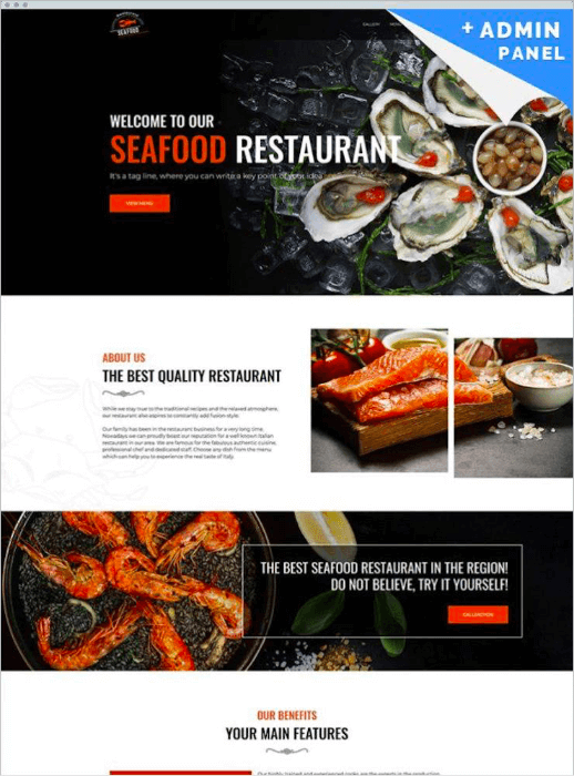 seafood template landing page design tips