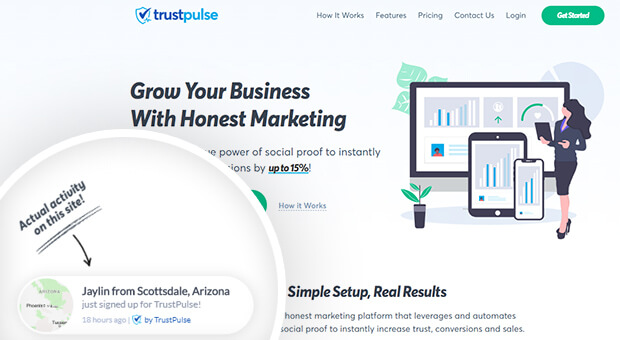 trustpulse social proof example