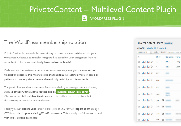 privatecontent wordpress membership plugin