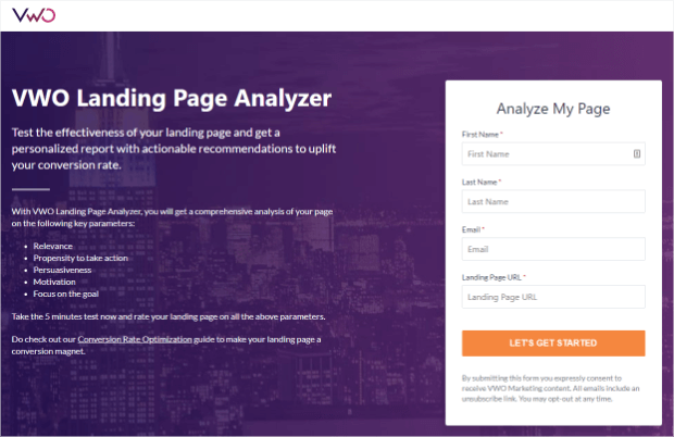 vwo landing page analyzer