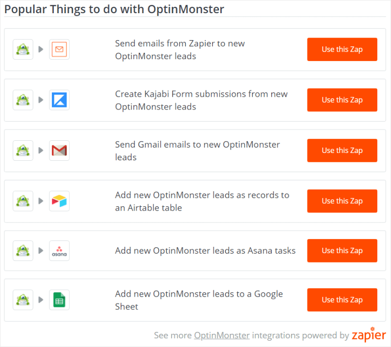 zapier and optinmonster integration